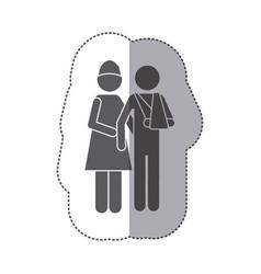sticker monochrome pictogram nurse with bandaged vector image vector image