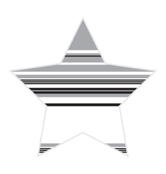 Striped Black And White Star Icon vector image vector image