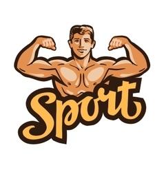 Strong muscular man flexes hands vector