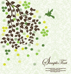 tree branch with leafs and flowers vector image vector image