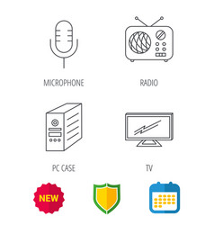 Tv retro radio and microphone icons vector