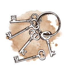 Vintage keys on ring over watercolor background vector