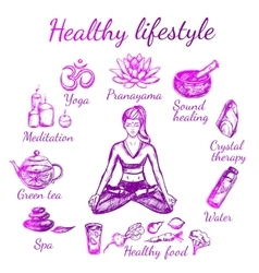 Yoga Sketch Lifestyle Composition vector image