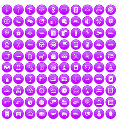 100 auto service center icons set purple vector