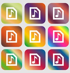 Audio mp3 file icon nine buttons with bright vector