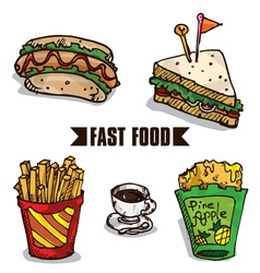 Fast food objects c vector