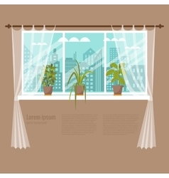 Window flowers vector