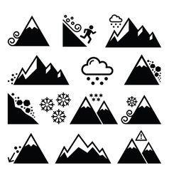 Mountains avalanche snowslide- natural disaster vector image