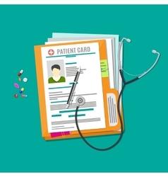 Folder woth documents stethoscope pills pen vector
