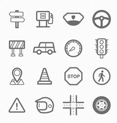 Traffic symbol line icon set vector image