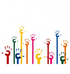 Hands upwards vector