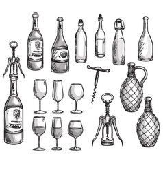 Set of wine bottles glasses and corkscrews vector