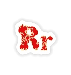 Sticker fiery font red letter r on white vector
