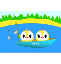 Chickens fishing vector
