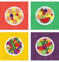 Four flat of salads and fruit vector