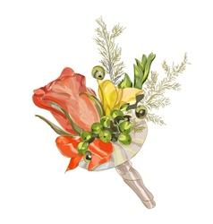 watercolor wedding flowers vector image
