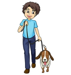 A smiling boy and a dog vector image