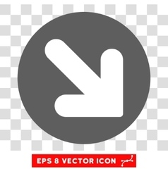 Arrow down right round eps icon vector