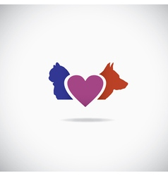 Background of a cat and a dog with a heart vector