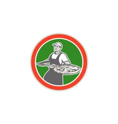 Baker holding peel with pizza circle retro vector