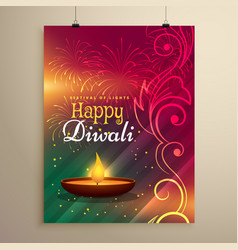 Beautiful diwali festival greeting template with vector