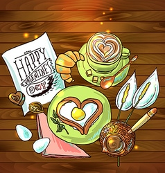 beautiful festive breakfast for Valentines Day vector image vector image