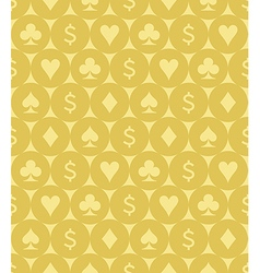 Card Suits and Dollar Sign Seamless Pattern vector image vector image