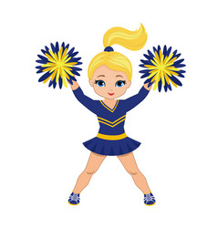 cheerleader in blue and yellow uniform with pom po vector image