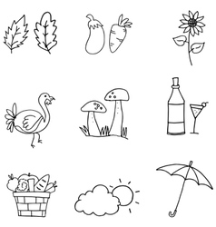 Doodle of thanksgiving set collection vector