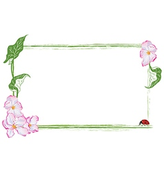 frame with apple flower and ladybird vector image vector image