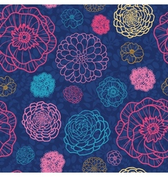 Glowing night flowers seamless pattern background vector image vector image