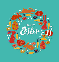 hand lettering happy easter card vintage wreath vector image vector image