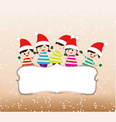 Happy christmas banner with kids vector