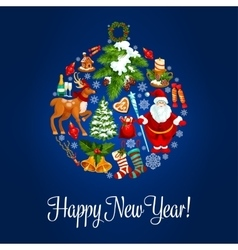 Happy new year greeting card ornament ball vector