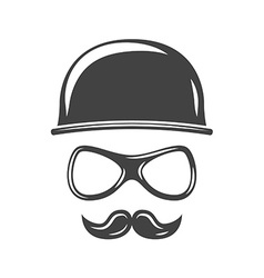 Hipster round retro hat eyeglasses and moustache vector