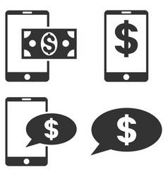 mobile financial balance flat icon set vector image vector image