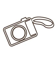 Monochrome contour analog camera with belt vector