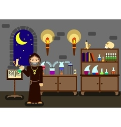 Old alchemist in his laboratory vector