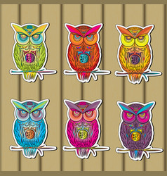 owls sticker set of multicolored on wooden in vector image