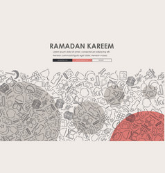 Ramadan doodle website template design vector