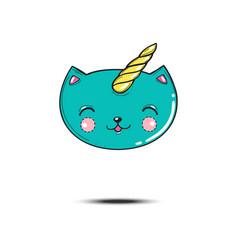 Satisfied cartoon blue cat head unicorn isolated vector