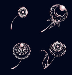 set of elements of floral ornament from pink gold vector image