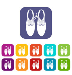 tied laces on shoes joke icons set vector image vector image