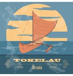 Tokelau polynesian canoeing retro styled image vector