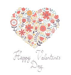 Valentines day card with floral heart vector image
