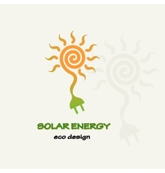 Solar energy symbolic sun spiral and plug vector