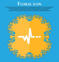 pulse icon Floral flat design on a blue abstract vector image