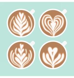 Cappuccino foam drawing coffee art vector