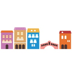 Venetian colorful houses isolated on white vector