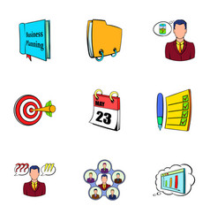 Office information icons set cartoon style vector